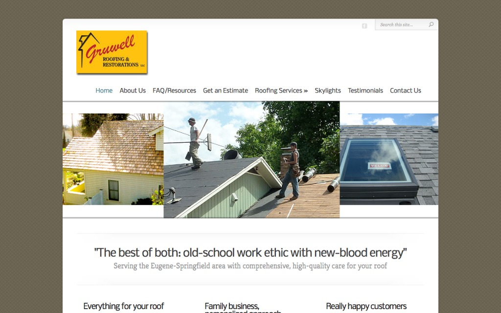 Home page screenshot for Gruwell Roofing
