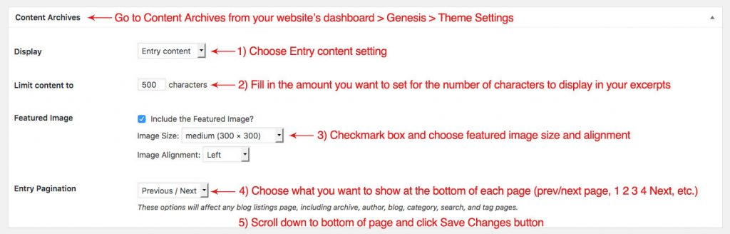 "Screenshot of the Genesis Theme Settings Content Archives options, when you want to set up a ""more"" tag with a character limit"