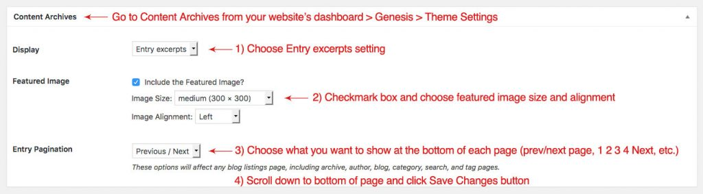"Screenshot of the Genesis Theme Settings Content Archives options, when you want to set up a ""more"" tag with a post excerpt displayed"