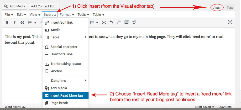 "Screenshot of a blog post visual editor area where you can click the ""insert"" button to create a ""read more"" link within your blog post"