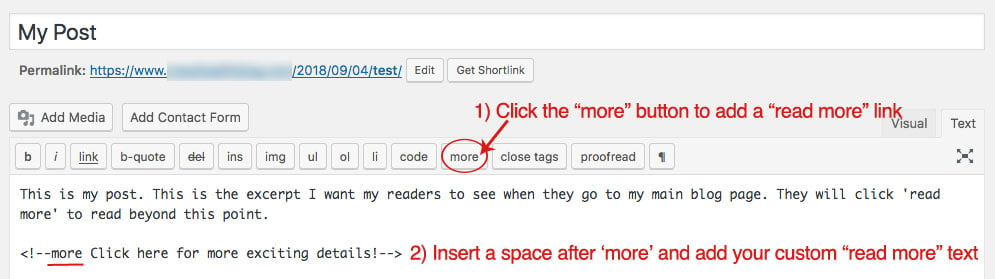 "Screenshot of blog post editor area where you can customize your ""read more"" text to change the wording"