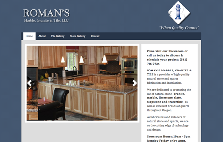 design of the former Roman's LLC website home page