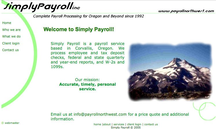 Home page screenshot for Simply Payroll's previous website