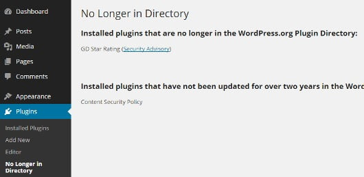 Warning – Outdated plugins can make your site susceptible to hacks!