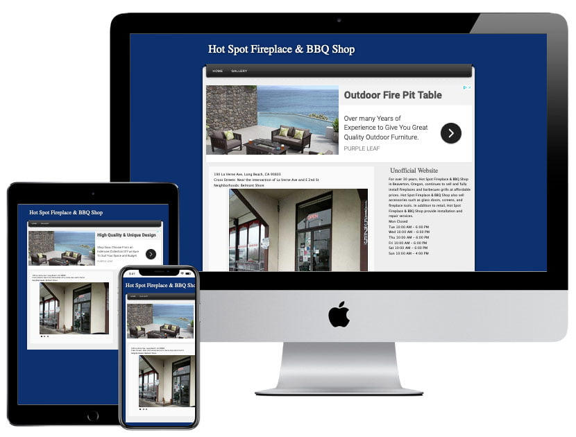 Web Design - Hot Spot Fireplace and BBQ