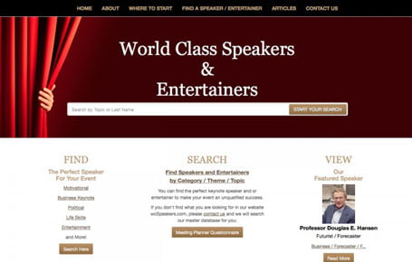 Former home page screenshot for World Class Speakers & Entertainers