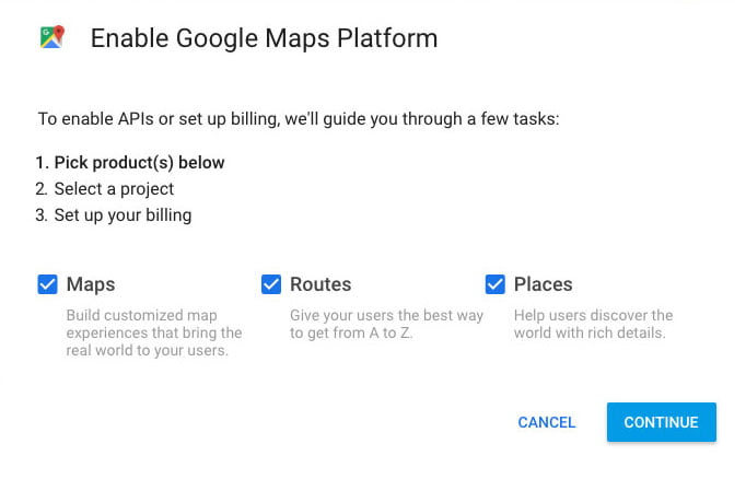 screenshot of step 1 to Enable Google Maps Platform
