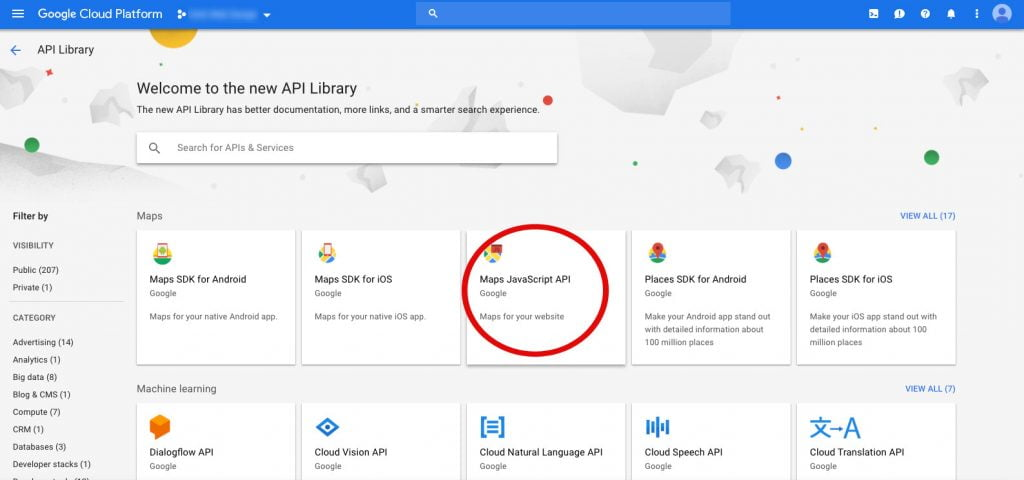 screenshot of Google Cloud Platform API library