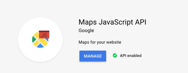 screenshot of enabled google maps javascript API