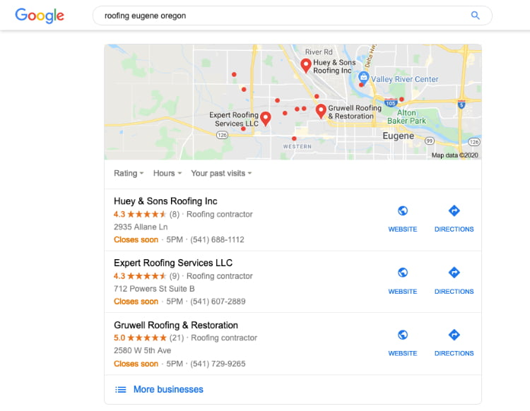 example of Google My Business map listings